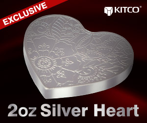 2 oz Pure Silver Heart Medallion .999
