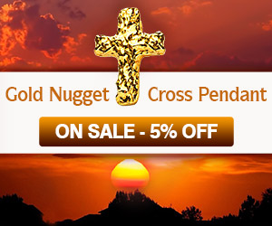 Gold Cross Nugget Pendant