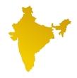 detailed orange gradient map of India